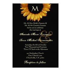 Bright Gold and Black Sunflower Wedding Template 5x7 Paper Invitation Card