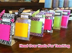 Head Over Heels For Teaching: Monday Made It: Teacher Gifts, Posters, and Winners Teacher Appreciation Gifts, Teacher Gifts, Volunteer Appreciation, Craft Gifts, Diy Gifts, I Love Mondays, Post It Note Holders, Mothers Day Crafts For Kids, Scrapbooking