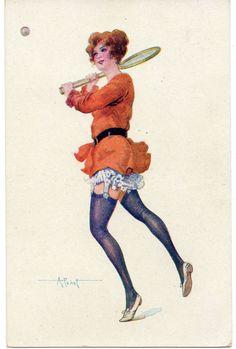 Albert Pénot : Glamour, Beauty, Fashion, Playful, Risqué  Tennis Féminin  1917