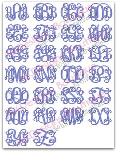 Fishtail font price 9 99 this is a 3 letter monogram font for Embroidery prices per letter
