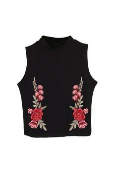 d32f8b266afa95 Crop Top High Neck Rose Patch | Odzież fullprint, poduszki, skarpetki, t-