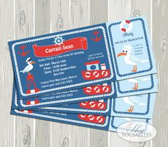 Ticket Invitation /  Boat Boarding Pass / Cruise ticket Invitation / Nautical Birthday Party Invitation / Tugboat Invitation / Printable PDF...