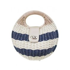 LUCLUC Blue Twist Lock Straw Tote Bag (€27) ❤ liked on Polyvore featuring bags, handbags, tote bags, lucluc, purses, blue purse, straw handbags, straw tote, blue totes and straw hand bags