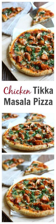 Chicken tikka masala pizza recipe - This pizza is SO good with spicy and creamy tikka masla chicken. Learn how to make it | http://rasamalaysia.com