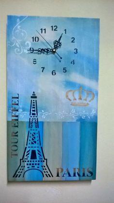 Reloj pintado a mano, y usando stenciles.Hecho por Zimek Artesanias. Stencil Art, Stencils, Clock Face Printable, Decoupage, Art Gallery, Workshop, Pallets, Clocks, Painting