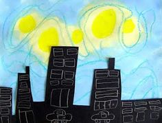 """""""Starry City Night.""""  You could cut out shapes of iconic buildings from your…"""