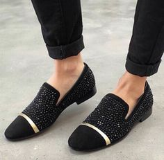 Beautiful black studded loafers are perfect for a after hours stroll on the town.