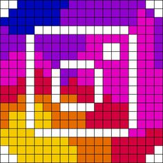 Perler Bead Templates, Diy Perler Beads, Perler Bead Art, Perler Patterns, Easy Pixel Art, Pixel Art Grid, New Instagram Logo, Instagram Grid, Modele Pixel Art