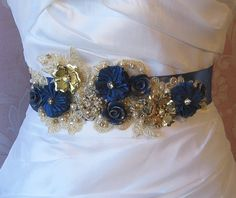 Peacock Blue Bridal Sash, Wedding Belt, Cobalt Blue with Gold Lace and Vintage Flowers - STARRY NIGHT via Etsy