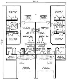 Traditional house plan first floor 055d 0865 house for Quadruplex apartment plans