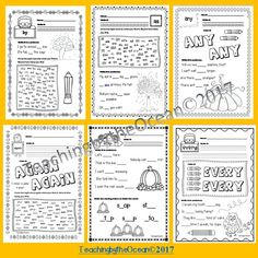 First Grade Sight Words Worksheets - Fall Themed Second Grade Sight Words, Pre Primer Sight Words, Sight Words List, Sight Word Practice, Third Grade, First Grade Lessons, First Grade Activities, Dolch List, Sight Word Worksheets