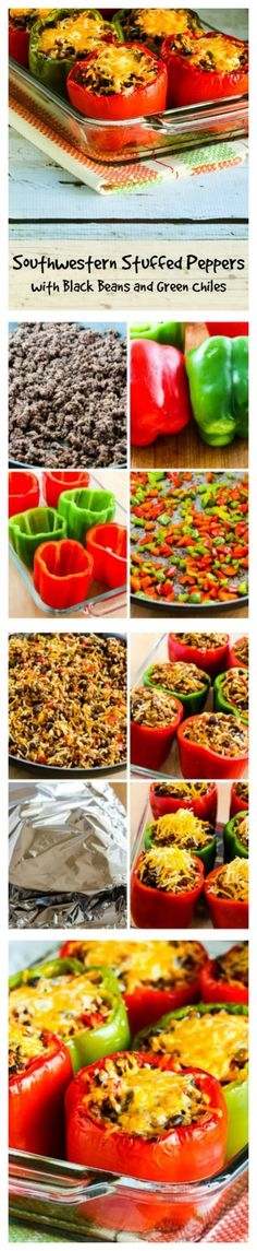 Southwestern Stuffed Peppers with Black Beans and Green Chiles make a delicious meal for any time of year. (Gluten-Free) [found on KalynsKitchen.com]