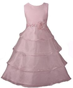 New Organza Tiered Flower Girl Dress ~ White Ivory Pink or Black Sz 2 to 12 Girls $42.99