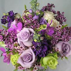 margarita green and bellflower purple colored wedding bouquet