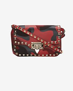 Valentino Rockstud Flap Crossbody Bag: Red Camo