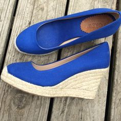FINAL PRICE DROPJ. Crew wedges, worn once! J. Crew blue espadrilles, they are a canvas-like material with a 3 inch heel. I wore them once for pictures so they are in great condition! Minimal to no signs or wear! Open to offers! J. Crew Shoes Espadrilles