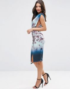 Image 4 of ASOS Floral Blurred Midi Scuba Dress