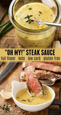 """Oh My!"" Steak Sauce: my favorite secret family recipe for the best flavored but., Food And Drinks, ""Oh My!"" Steak Sauce: my favorite secret family recipe for the best flavored buttery steak sauce! This steak sauce is gluten free, low carb and keto a. Keto Sauces, Low Carb Sauces, Keto Bbq Sauce, Keto Alfredo Sauce, Healthy Sauces, Buttery Steak Sauce, Garlic Butter Steak Sauce, Easy Steak Sauce, Mustard Sauce For Steak"