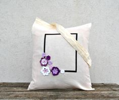 Shopper Tote bag in organic Cottone with purple flowers and geometric frame Monogrammed Custom handpainted Gift for Mother daughter reusable