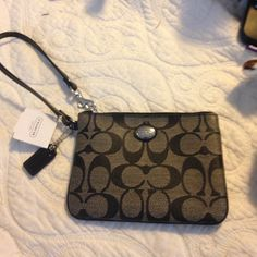 Black and grey coach wristlet New! Coach Bags Clutches & Wristlets