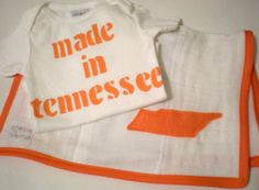 Made In Tennessee Onesie and State Burp Cloth Personalized Baby Gift Set Funny Baby Gift
