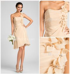 A-line One Shoulder Knee-length Chiffon Bridesmaid Dress With Flower(s) - EUR € 56.09