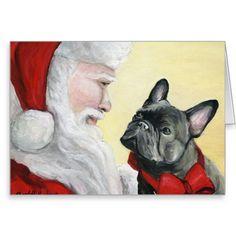 """French Bulldog on Santa's Lap"" Christmas Card Merry Christmas In French, Cat Christmas Cards, Christmas Images, French Bulldog Puppies, French Bulldogs, Dog Illustration, Christmas Paintings, Fall Cards, Watercolor Cards"