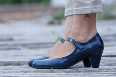 Free Shipping Blue Leather Shoes Blue Pumps Heeled by BangiShop
