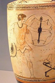 White-ground lekythos depicting a young man arming Greek made in Athens by…