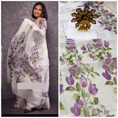 Designer Sarees Wedding, Wedding Sari, Wedding Ceremony, Fabric Painting On Clothes, Painted Clothes, Fabric Art, Hand Painted Sarees, Hand Painted Fabric, Organza Saree
