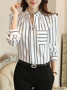 6a4bf0b2301 Autumn Spring Chiffon Women Split Neck Patch Pocket Striped Long Sleeve  Blouses