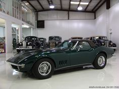 1968 CHEVROLET CORVETTE COPO CONVERTIBLE SPECIAL COPO ORDER BRITISH GREEN WITH TOBACCO INTERIOR! ORIGINAL DEALER INVOICE! ORIGINAL OWNER'S MANUAL IN ORIGINAL SLEEVE! ALL REGISTRATIONS FROM 1968-2002! BELIEVED TO BE ONE OF ONE IN THIS COLOR... Corvette C3, Corvette For Sale, Chevrolet Corvette, Vintage Cars, Antique Cars, Chevy, Dream Cars, Convertible, Classic Cars