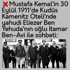 """Instagram'da Kenan Gümüş: """"❌Mustafa Kemal'in 30 Eylül 1911'de Kudüs Kamenitz Oteli'nde yahudi Eliezer Ben Yehuda'nın oğlu Itamar Ben-Avi ile sohbeti: ❌Mustafa…"""""""