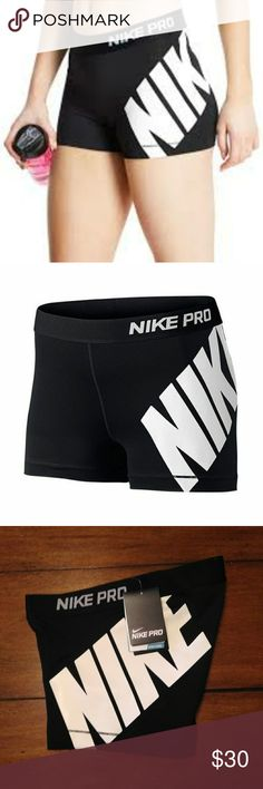 Nike Pro Dri Fit shorts Black and white Nike Pro Dri Fit shorts. New with tags. Dri-Fit fabric pulls sweat away from the body to help keep you dry and cool. Nike Shorts