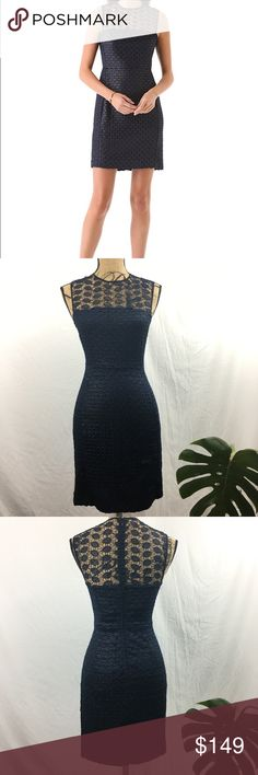 Diane Von Frustenberg Kinchu Lace Overlay Dress Vintage-inspired lace and precise seams give this DVF shift dress a lovely, tailored fit and a hint of ladylike reserve. The sheer lace yoke is an elegant touch, and a hidden back zip provides a subtle finish. Some small snags in crochet not very noticeable, see photos. Navy blue. Diane Von Furstenberg Dresses Mini