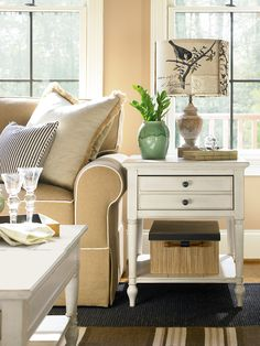 Summer Hill Collection  End Table With A Cotton Finish