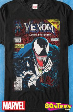 Venom Lethal Protector Part One T-Shirt: Marvel Mens T-Shirt  Now you can wear comic book cover art work on a shirt.  The design was  illustrated by Mark Bagley. Great men's fashion t-shirt!