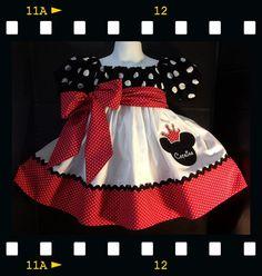 Personalizado hecho Minnie Mouse vestido bordado princesa apliques cumpleaños partido oídos nombre inspirado rojo lunares negro 24m 2T 3T 4 5 6