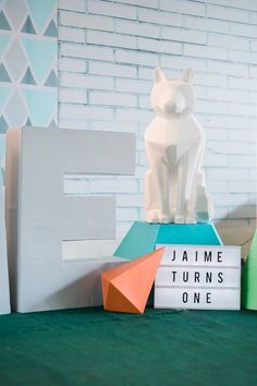 Jaime's Geometric Fox Themed Party – Stage Geometric Fox, Party Themes, Party Ideas, Stage, Birthday, Birthdays, Ideas Party, Dirt Bike Birthday, Birth Day