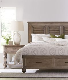 The Havertys Forest Lane bed adds a relaxed, cottage feel to your bedroom. It has a distressed, weathered gray finish that gives it a refined rustic look.