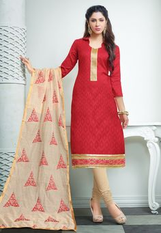 Classy Red & Beige Churidar Salwar Suit Dress Material-2008