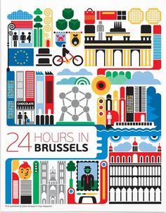 24 hours in Brussels, Belgium. Illustration by Fernando Volken Togni…