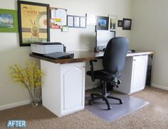 use old base or wall cabinets to make a unique home office desk via Our Blog | Coast Design