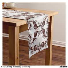 """Black Cherry Marble Long Table Runner  Black and white fractal generated marble effect with dark red glossy fractal orbs spiraling all around. Click on """"Customize It!"""" to change the images, the image placement, add text, etc."""