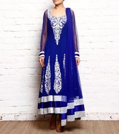 Blue & White Embroidered Georgette Anarkali Suit