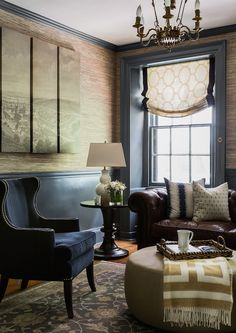 Love so many things about this room!  wallpaper, leather couch, wingback, ottoman….