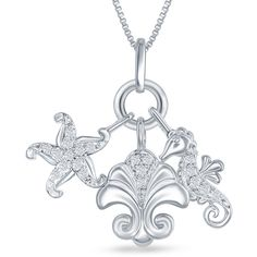 Enchanted By Disney Womens 1/8 CT. T.W. White Diamond Pendant Necklace (410 AUD) ❤ liked on Polyvore featuring jewelry and pendant necklace