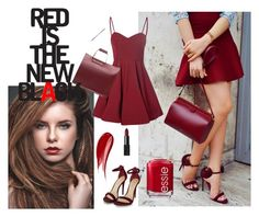 """red is the new black !"" by harisberba ❤ liked on Polyvore featuring Glamorous, Zara, Essie, NARS Cosmetics and Hourglass Cosmetics"