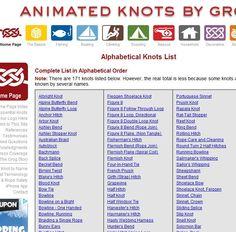 Listado de nudos en imágenes animadas  Alphabetical Knots List  animated knots