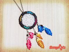 sandylandya@outlook.es  Dreamcatcher necklace hama mini beads by MangoCats